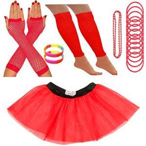 Redstar Fancy Dress - Tutu/guêtres/Mitaines résille/Collier de Perles/Bracelets en Caoutchouc/Bracelets Fluo - Rouge - 36-40 (Redstar Online, neuf)