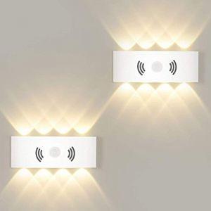 Applique murale LED 8 W avec détecteur de mouvement pour extérieur/intérieur - Blanc chaud 3000 K - Éclairage mural pour jardin, couloir, escalier, garage (ezon europe, neuf)