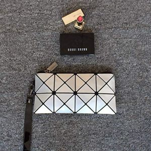 Nouvelle mode en cuir brillant sac cosmétique embrayage petit portable géométrique rhombique portefeuille sac de téléphone argent (ManManXu, neuf)