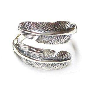 Silberschmuck-BG Bague Ouvert en Plume de mer Indien Bijoux en Argent 925% Sterling Bague Plume Cadeau Bijoux pour Homme et Femme (Silberschmuck-BG, neuf)