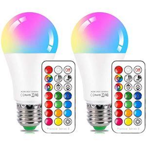 Ampoule LED Couleur E27 10W Changement de Couleur Dimmable LED Bulbs 12 choix de couleurs,21 key Télécommande Compris (Lot de 2) (HYDONG, neuf)