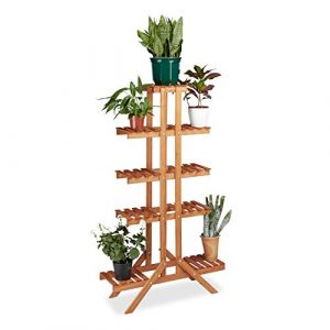 Relaxdays Etagère à fleurs en bois escalier pour plantes échelle plantes intérieur HxlxP: 142,5 x 83 x 28,5 cm brun miel (Relaxdays, neuf)