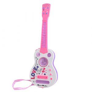 Guitare Enfant, Foxom 4 Cordes Simulation Flash Mini Guitare Enfants Instruments de Musique Jouet Éducatif,Rose (Foxom, neuf)