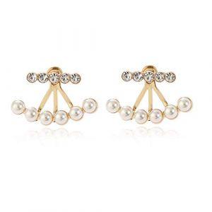 Boucles d'oreilles tendance pour femme, boucles d'oreilles en diamant et petites perles, boucles d'oreilles à clips parfaites pour les filles, cadeaux de vacances, d'anniversaire (une paire) - A (huijiadeyichu, neuf)
