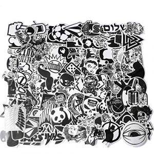 100pcs Autocollants Noir et Blanc Vinyle pour Ordinateur Portable, Voitures, Moto, Bicyclette, Bagages Skateboard, Autocollants pour Voiture Stickers Hippie Bombe Étanche (Betenshy, neuf)