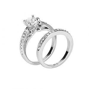 KEATTL Anneau De Couple,La Mode Simple Deux En Un Quatre Griffes Zircon Placage d'Argent Diamant Anneau Saint Valentin Bijoux Cadeau (7, Argent) (KEATTL, neuf)