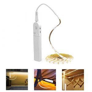 PDGROW Bande lumineuse LED pour dessous de placard, escalier de lit, armoire avec détecteur de mouvement, 5 V USB et piles 4 modes, étanche (CFCP, neuf)
