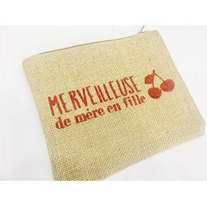 Pochette Trousse en Toile de Jute à message imprimé Paillettes rouge Merveilleuse de mère en fille Doublé synthétique Dim : 22 x 18 cm (D&C, neuf)