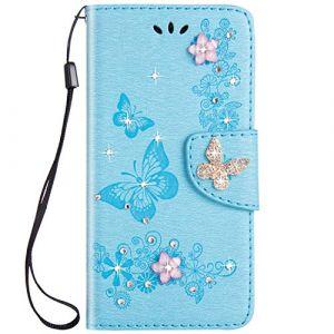 Felfy Compatible avec iPhone X/XS Coque Portefeuille Luxe Glitter Strass Diamant 3D Papillon Housse à Rabat PU Cuir étui de Protection Magnétique Flip Case Bumper avec Fentes pour Cartes,Bleu (Okssud, neuf)