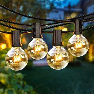 Guirlande Lumineuse Intérieure et Extérieure, 8M Guirlande Guinguette Raccordable avec 25 Ampoules + 3 Ampoules de Rechange pour Décoration Jardin, Terrasse, Noël, Mariage, étanche IP44, Blanc Chaud (Tophinon, neuf)