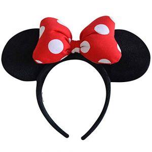 1 pc Rouge Coiffure Cerceau Mickey Minnie Mouse Oreilles Filles Bandes De Cheveux Tête Cerceau En Peluche Jouets Sac Porte-clés Pour Les Enfants (timeshow, neuf)
