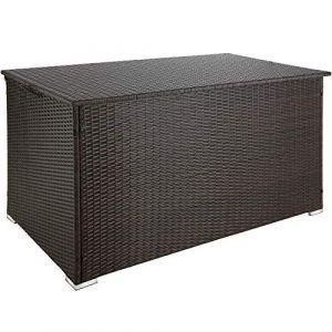 tectake 800715 Coffre de Jardin de Rangement extérieur 750 L en Résine tressée, Cadre en Aluminium, 145 x 82,5 x 79,5 cm - Plusieurs Coloris - (Brun | no. 403275) (Made4Home SAS, neuf)