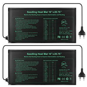 Electronique Tapis Chauffant 24x52cm, coussin de chauffage hydroponique imperméable pour l'usine de reptile de graine avec la protection contre la puissance sûre et durable CE certifié(Paquet de 2) (YichangEU, neuf)