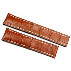 Rios1931 20 mm/18 mm bracelet de montre en cuir véritable bande Crocodile à la main ruban brun cognac pour boucle déployante Convient pour Breitling Allemagne Crocodile Alligator bracelet de montre (Sammlerparadies, neuf)
