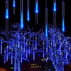 Guirlandes Lumineuse,SUAVER 30CM 8Tubes 288LED Météore Pluie Lumineuses Guirlandes Solaire Lumineux Etanche Extérieur Lumière décoration pour Noël Fête Soirée Maison Arbre Jardin (Bleu) (SUAVER Direct, neuf)