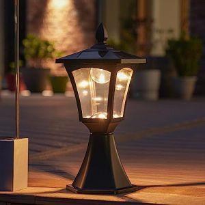 Borne Lumineuse Solaire Extérieure - Éclairage de Jardin Waterproof 6 LED Blanc Chaud - 42cm (Festive Lights Ltd, neuf)