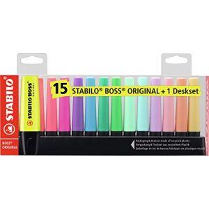 Surligneur - STABILO BOSS ORIGINAL - Set de bureau x 15 surligneur - fluo et pastel assortis (OFITURIA, neuf)