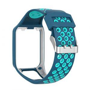 MCO Bracelet Tomtom Adventurer Montre,Bracelet De Rechange en Silicone pour Tomtom Runner 2 / Runner 3 / Spark 3 / Aventurier/Golfeur 2 Sports GPS Running (Bleu&Sarcelle) (Tosenpo, neuf)