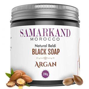Savon Noir Marocain à l'Huile d'Argan BIO 100% Pure pour Hammam Naturel Beldi   Gommage au Savon noir traditionnel - L'original du Maroc 200 g (JAMONPRIVE, neuf)