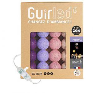 Guirlande lumineuse boules coton LED USB - Veilleuse bébé 2h - Adaptateur secteur double USB 2A inclus - 3 intensités - 16 boules 3.2m - Provence (Lighting Arena, neuf)
