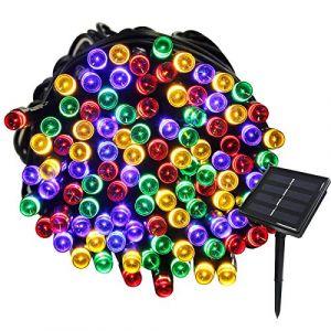 Tuokay 22M Guirlande Solaire 200 LED 8 Jeux de Lumière Guirlande Lumineuse Idéal pour Fête, Mariage, Anniversaire et Jardin Extérieur (Multicolore) (Tukai Trading, neuf)