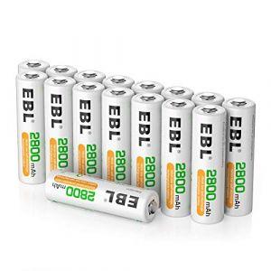 EBL 16pcs Piles AA Rechargeables 2800mAh Ni-MH avec Boîte de Stockage (EBL Official, neuf)