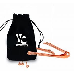 Wonder Care - 100% cuivre grattoir langue / nettoyant ayurvédique antibactérien pour l'hygiène orale optimale (3 pièces) (Yanki's, neuf)
