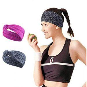 Ushiny Bandeaux de sport Boho Bandeau élastique pour cheveux avec bandeau de yoga pour la course à pied, femmes et filles. (Rouge) (Ushiny, neuf)