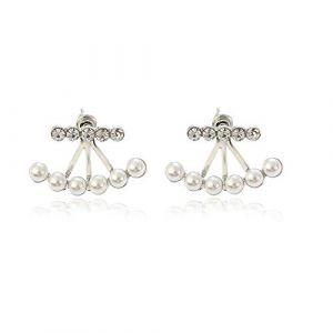 Boucles d'oreilles tendance pour femme, boucles d'oreilles en diamant et petites perles, boucles d'oreilles à clips parfaites pour les filles, cadeaux de vacances, d'anniversaire (une paire) - B (huijiadeyichu, neuf)