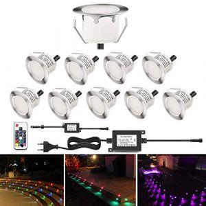 Lot de 10 Spot Extérieur Encastrable Mini Lumière 0,2-0,5W DC12V étanche IP67 Lumière réglable(RGB) Spot Led Extérieur pour Terrasse, Plafond, Escalier, Jardin, Décoration, Intérieur et Extérieur (Shangchen, neuf)