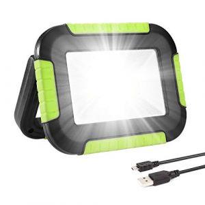 LE Lighting EVER Projecteur LED Portable 10W 1000LM, Projecteur LED Rechargeable avec Batterie 4400mAh, 3 Modes Luminosité, Résistant pour Camping, Bricolage, Chantier etc, Blanc Froid (Lepro FR, neuf)