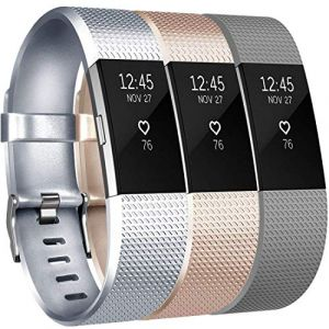 Yandu Fitbit Charge 2 Bracelet Sangle Réglables Accessorie Replacement Band pour Fitbit Charge 2 Fitness Sport Wristband (06, 3PC(Silver+Champagne+Gray), Large) (xdlm, neuf)