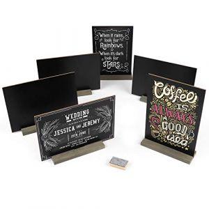 Belle Vous Mini Ardoise (6 Pcs) - Mini Tableau Noir Double Face (15x22cm) de Table avec Support en Bois, 3 Craies, et un Tampon Effaceur pour les Mariages, Fêtes, Bars, Buffets et Restaurant (Tinyyo Europe, neuf)