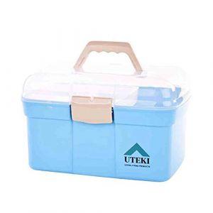 Boîte de rangement pour médicaments ménagers, petite boîte à médicaments pour enfants, boîte à médicaments pour voiture, boîte de premiers soins superposée, boîte de rangement portable, bo (GQP Boutiques, neuf)