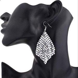 Cadeaux Boucles D'oreilles Étoile Charme Sequin Boucles D'oreilles Pendantes Géométrique Rond Brillant Dangle Boucle D'oreille FemmesArgent (Graceguoer, neuf)