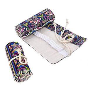 Sac a Crayon de Toile, Watoon 72 Trous Pochette pour Crayons, Trousse de Crayons de Couleurs Sac Multi-usages (Crayons non Inclus) (JINGBAI, neuf)
