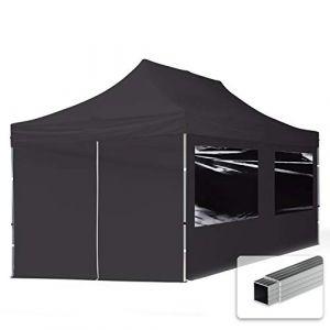 TOOLPORT Tente Pliante 3x6 m - 4 côtés Aluminium Barnum Chapiteau Pliant Tonnelle Stand Paddock Réception Abri PES300 Noir (INTENT24, neuf)
