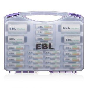 EBL 12 Piles AA 2800mAh + 8 Piles AAA 1100mAh + Boîte de Rangement(Violet) + 4 Adaptateur Piles Type C D pour Piles AA [ Nouvelle Combinaison de Piles Ni-Mh Rechargeables Rapides] (EBL Official, neuf)