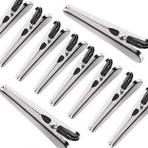 IPOW 10 PCS Pince à Sachet Métalliques en Acier Inoxydable Pince Puissant Ressorts Fermer Sachet Sac Alimentaire Clips à Fermeture Cuisine Pince à Sac pour Conserver Aliments pour Bureau Home (TechAIBO, neuf)