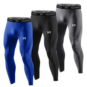 MEETYOO Legging Homme, Sport Pantalons et Compression Collant Cool Dry Fitness Musculation Respirant Base Layer pour Running Jogging Cyclisme Course,M,Bleu+gris+noir (MEETYOO, neuf)