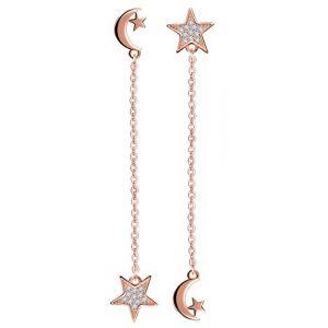 Infinite U Boucle d'oreille femme fille en argent 925 la lune et l'étoile orné zircon Pendantes brillant (Infini U, neuf)