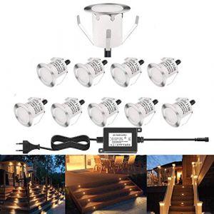 RSWLED Lot de 10 Spot LED Extérieur pour Terrasse Enterré Plafonnier,LED Encastrable Lumière 0.6W IP67 DC12V Etanche Lampe Pour Chemin,Escalier, Blanc Chaud (Shangchen, neuf)