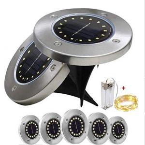 Hotsilai Lumière Solaire Extérieur Jardin Au Sol Extérieur 16 LED 6000K Blanc Etanche IP65 Spot Solaire Extérieur Chemin Terrasse Cour Lampe Solaire Encastrable (hotsilai, neuf)