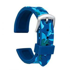 Ullchro Bracelet Montre Haute Qualité Remplacer Silicone Bracelet Montre Camouflage - 18mm, 20mm, 22mm, 24mm Caoutchouc Montre Bracelet avec Acier Inoxydable Boucle(20mm, Bleu) (Ullchro-EU, neuf)