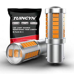 TUINCYN 1156 Ampoule LED Jaune Jaune Ampoule de clignotant Super Bright 8000K 5630 33SMD 1141 1073 7506 Feu de clignotant arrière Feu de stop Ampoules de feu de position RV Lampe 12V (TUINCYn, neuf)
