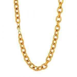 U7 Collier Homme Plaqué Or Jaune Chaîne Maille Grosse 12mm de Large Rolo Chaine Necklace 51cm Hip Hop Rapper Style Bijoux Doré pour Femme Garçon (HMDEU, neuf)