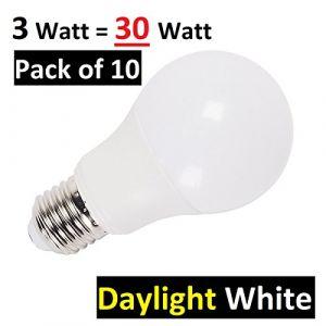 Lot de 103W E27Ampoule LED GLS Culot à vis Edison Lampes LED, ultra lumineux 200lumen, 6400K Blanc lumière du jour, 230° Angle de faisceau, remplace Old 30W-40W à incandescence et halogène A60Globe ampoules (LED-ART, neuf)