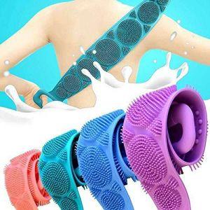 Silicone exfoliant douche corps brosse de bain de la sangle Wash Clean brosse pour le dos de la sangle bleu (QkuiYBVp, neuf)