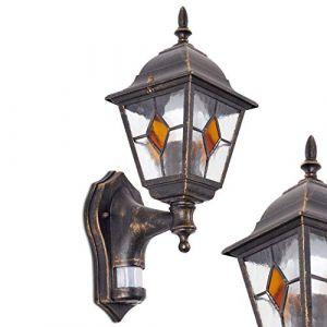 Applique murale Antibes équipée d'un détecteur de mouvement - Lampe murale extérieur détecteur au style classique - Applique extérieure en forme de lanterne (hofstein, neuf)