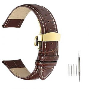 Bracelet Montre Hommes, Bracelet Montre en Cuir, Bracelet Montre Remplacer avec Boucle en Acier Inoxydable, Boucle Déployante Papillon?Boucle en Or Marron?24mm (Weelove, neuf)